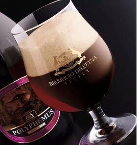 Birra artigianale POLYPHEMUS RESERVE fermentata con legni di rovere - ITALIAN GRAPE ALE con mosto di Nerello mascalese - <b> 6 bottiglie in confezione regalo - 75 cl </b> - BIRRIFICIO DELL'ETNA-LINEA PREMIUM