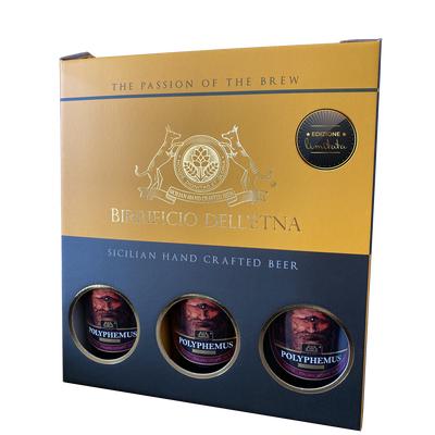 Birra artigianale - <b>2 box tris da 3 bottiglie in confezione regalo - 75 cl </b> - 3 POLYPHEMUS RESERVE fermentata con legni di rovere - ITALIAN GRAPE ALE con mosto di Nerello mascalese - BIRRIFICIO DELL'ETNA-LINEA PREMIUM